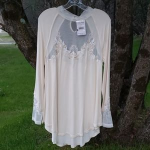 Free People Top Blouse Cream NWT